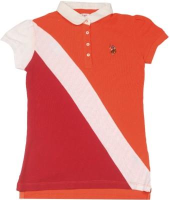 US Polo Solid Girl's Polo T-Shirt