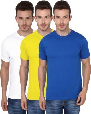 99Tshirts Solid Men's Round Neck White, Yellow, Blue T-Shirt
