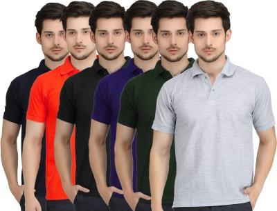 Krazy Katz Solid Men's Polo Neck Multicolor T-Shirt
