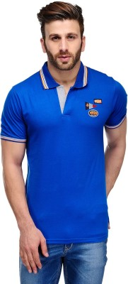 Ausy Solid Men's Polo Blue T-Shirt