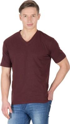 Hypernation Solid Men's V-neck Brown T-Shirt