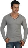 Rigo Solid Men's V-neck Grey T-Shirt