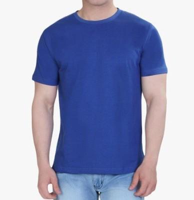 neuf Solid Men's Round Neck Blue T-Shirt