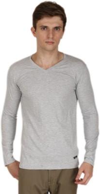 Blimey Solid Men's V-neck Grey T-Shirt
