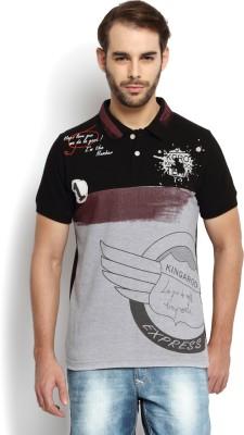 Kingaroo Printed Men's Polo Neck Black, Grey T-Shirt