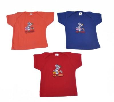 Cucumber Printed Baby Boy's Round Neck Orange, Red, Blue T-Shirt