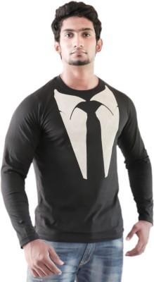 Indrow Graphic Print Men's Round Neck Black T-Shirt
