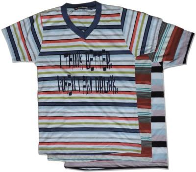 Vio Striped Boy's Round Neck Multicolor T-Shirt