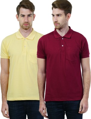SEABOARD Solid Men's Polo Neck Maroon, Yellow T-Shirt