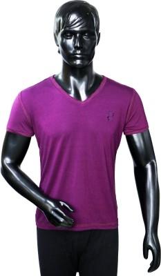 Starsy Solid Men's V-neck Purple T-Shirt