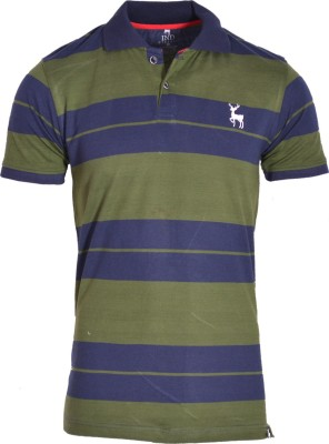 IND Classic Striped Men's Polo Neck Green, Dark Blue T-Shirt