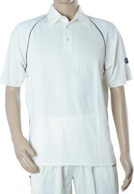GM Striped Men's Polo Neck White T-Shirt