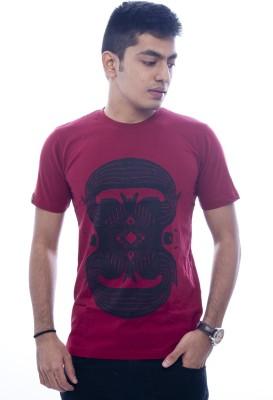 Urban Flux Printed Men's Round Neck Maroon T-Shirt