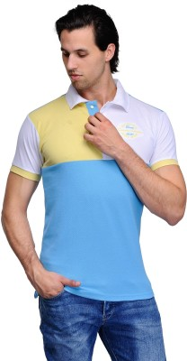 Canary London Solid Men's Polo Neck Blue, Grey T-Shirt