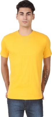 Casabella Solid Men's Round Neck Yellow T-Shirt