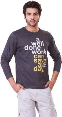 D-Green Graphic Print Men's Round Neck Grey T-Shirt