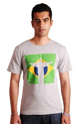 Rigo Printed Men's Round Neck Grey T-Shirt