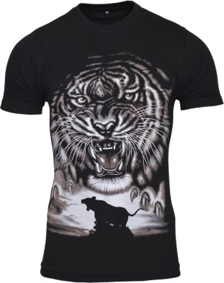 Avenster Printed Men's Round Neck Black T-Shirt