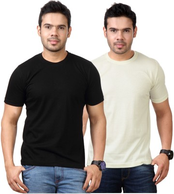Top Notch Solid Men's Round Neck Black, Yellow T-Shirt