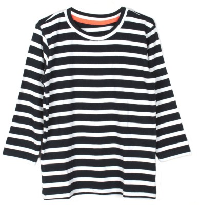 My Little Lambs Striped Girl's Round Neck Black T-Shirt