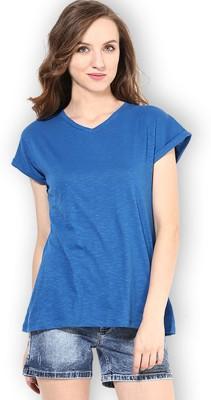 Martini Solid Women's V-neck Blue T-Shirt