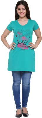 IN Love Casual Short Sleeve Printed Women's Green Top