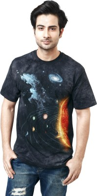 The Mountain Printed Men's Round Neck Black, Orange, Blue T-Shirt