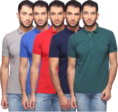 GOAT Solid Men's Polo Neck Multicolor T-Shirt