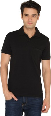 Chromozome Solid Men's Polo Neck Black T-Shirt