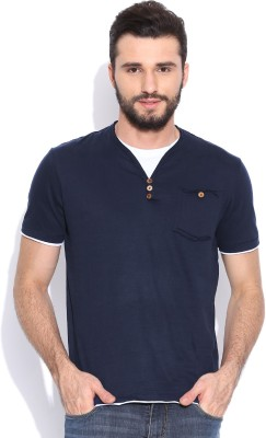 Sera Solid Men's V-neck Dark Blue T-Shirt