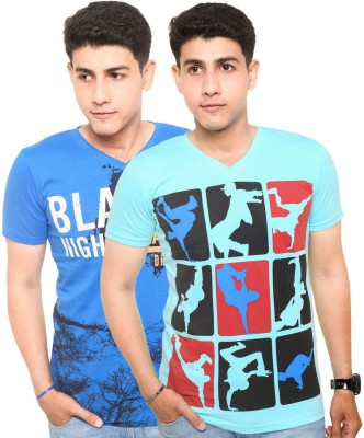 Zwizdot Printed Men,s V-neck Blue, Light Blue T-Shirt