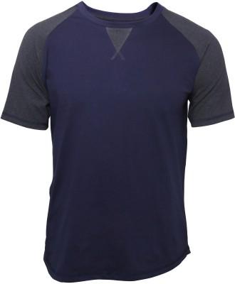 Poshuis Solid Men's Round Neck Grey, Dark Blue T-Shirt