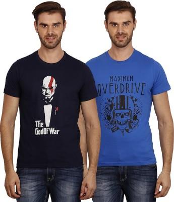 Crush on Craze Printed Men's Round Neck Dark Blue, Blue T-Shirt