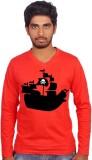 Amla Printed Men's V-neck Red T-Shirt