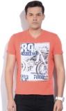 Killer Printed Men's V-neck Orange T-Shi...