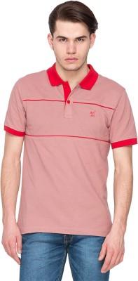 Kanva Striped Men's Polo Brown, Red T-Shirt