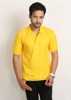 Larwa Solid Men's Polo Neck Yellow T-Shirt