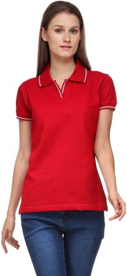 Scilla Solid Women's Polo Neck Red T-Shirt