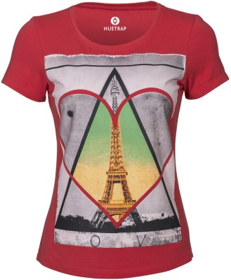 Huetrap Graphic Print Womens Round Neck Red T-Shirt