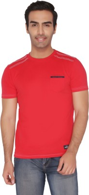 Again Vintage Solid Men's Round Neck Red T-Shirt