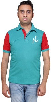 HIRA FASHION WEAR Solid Men's Polo Neck Blue T-Shirt