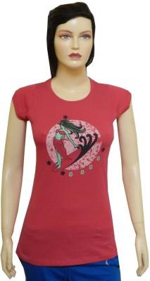 Ultrafit Printed Women's Round Neck Pink T-Shirt