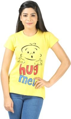 Shopdayz Printed Women's Round Neck Yellow T-Shirt