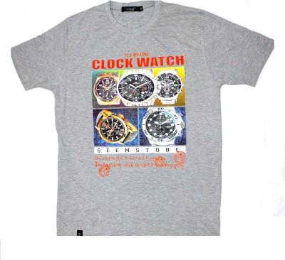 99dailydeals Graphic Print Men,s Round Neck Grey T-Shirt