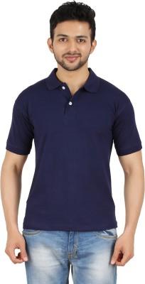 Garudaa Garments Solid Men's Polo Neck Dark Blue T-Shirt