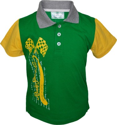 Cool Quotient Printed Boy's Polo Green, Yellow T-Shirt
