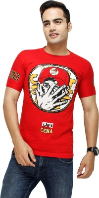 Attitude Printed Men's Round Neck Red T-Shirt