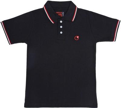 Circle Square Solid Boy's Polo Black T-Shirt