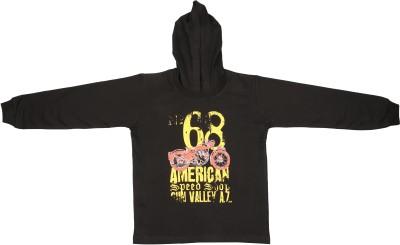 Grabito Printed Boy's Hooded Black T-Shirt