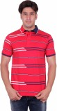 Venetian Striped Men's Polo Neck Red T-S...